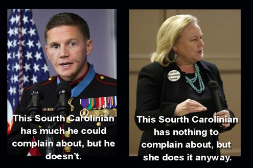 Left: Corp. Kyle Carpenter, USMC (Ret) Right: Sheri Few, defeated candidate for Supt. of Education