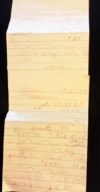 Mrs. B's handwritten list of medications.  She was not allowed to see an itemized bill.